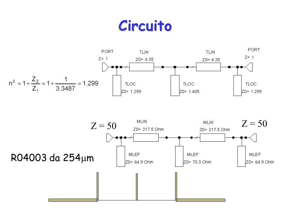 Circuito Z = 50 Z = 50 R04003 da 254m