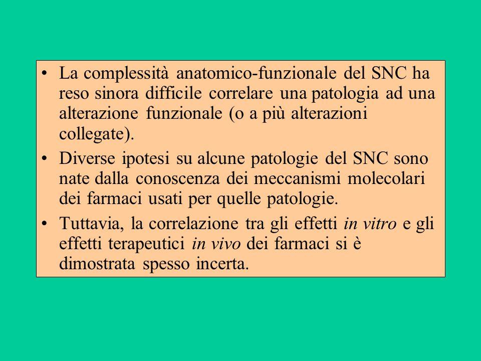 La complessità anatomico-funzionale del SNC ha reso sinora difficile correlare una patologia ad una alterazione funzionale (o a più alterazioni collegate).