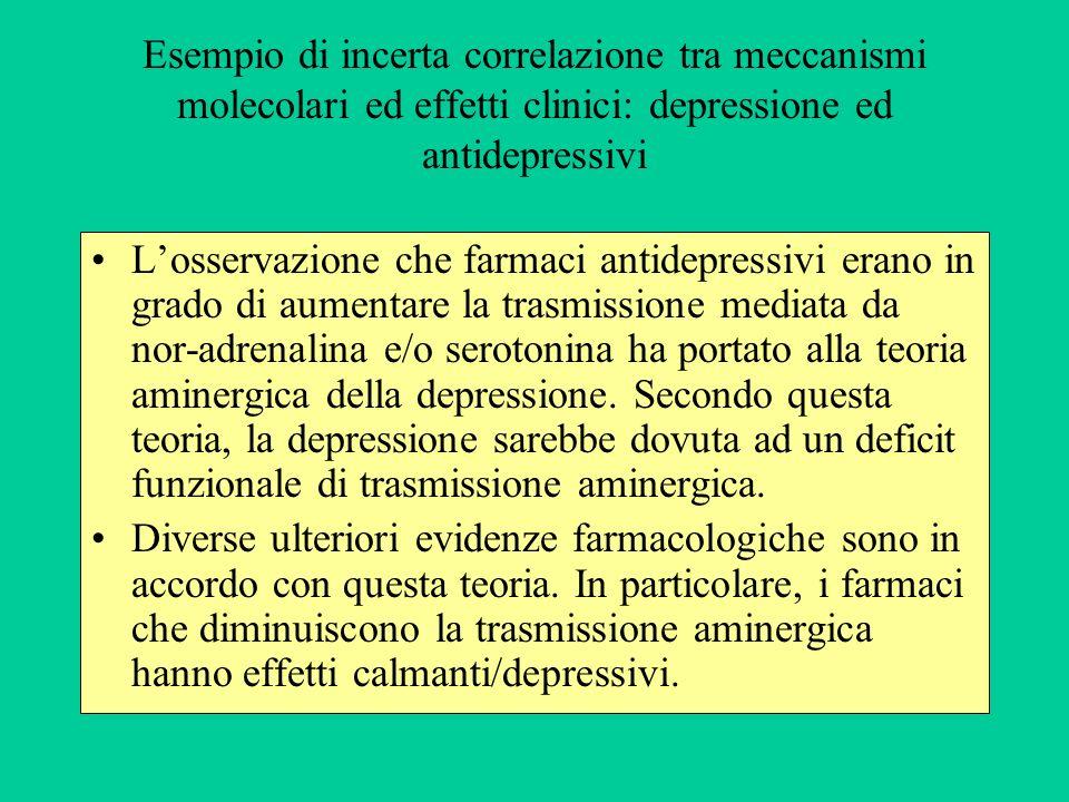 Esempio di incerta correlazione tra meccanismi molecolari ed effetti clinici: depressione ed antidepressivi