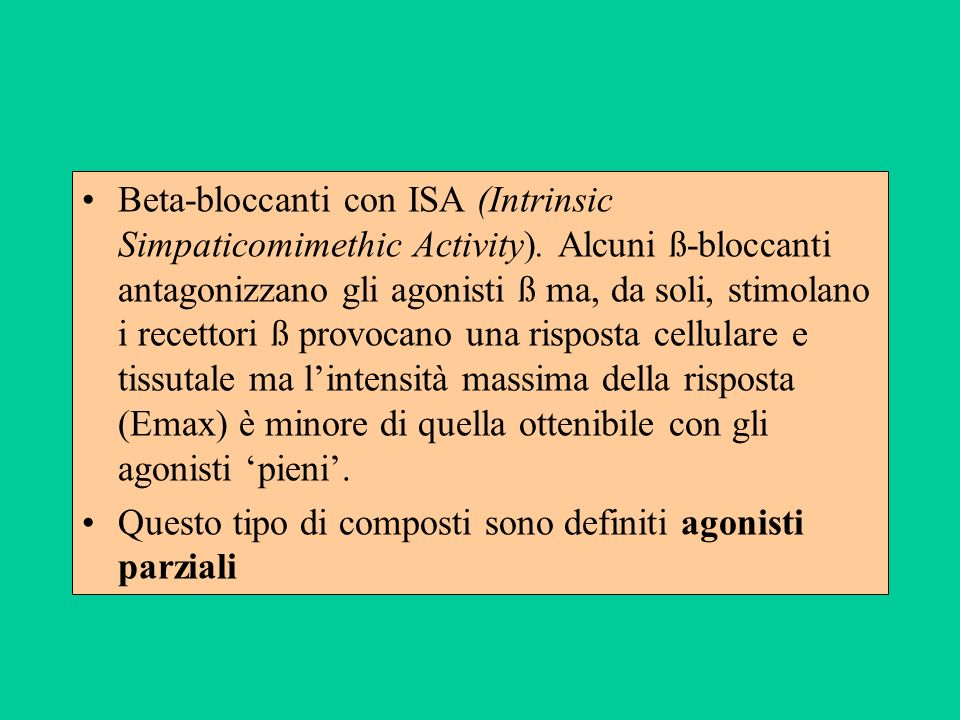 Beta-bloccanti con ISA (Intrinsic Simpaticomimethic Activity)