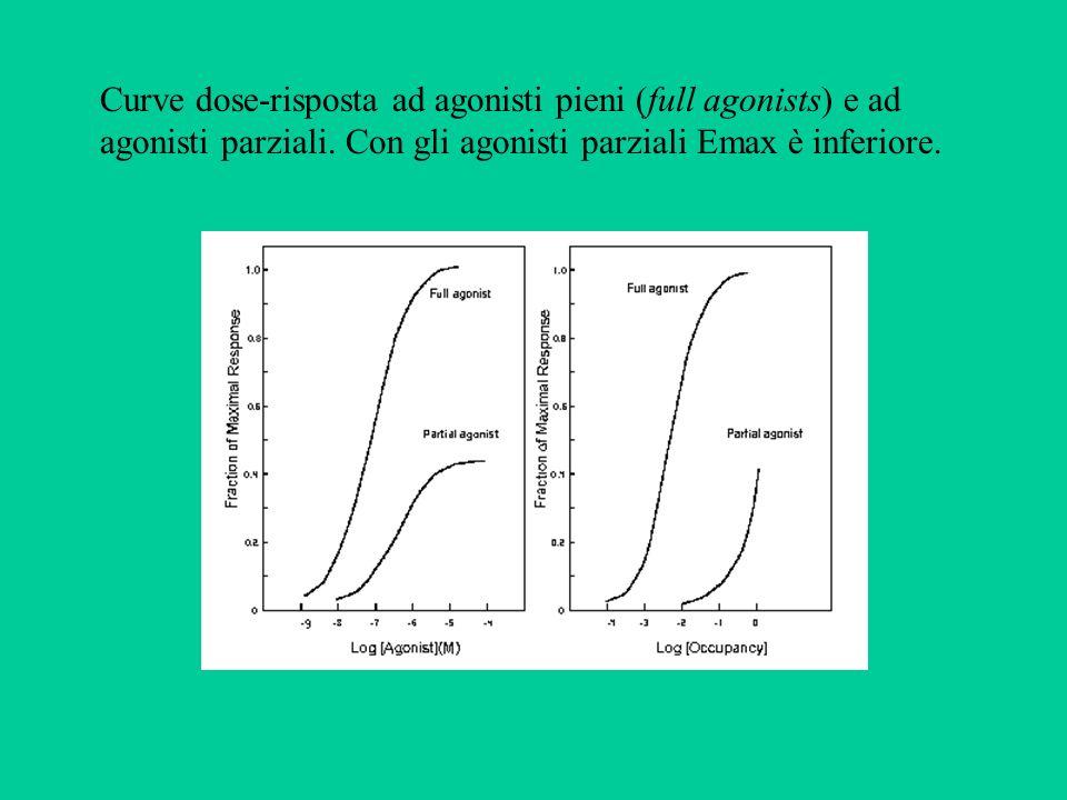 Curve dose-risposta ad agonisti pieni (full agonists) e ad agonisti parziali.