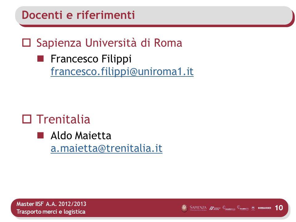 Trenitalia Docenti e riferimenti Sapienza Università di Roma
