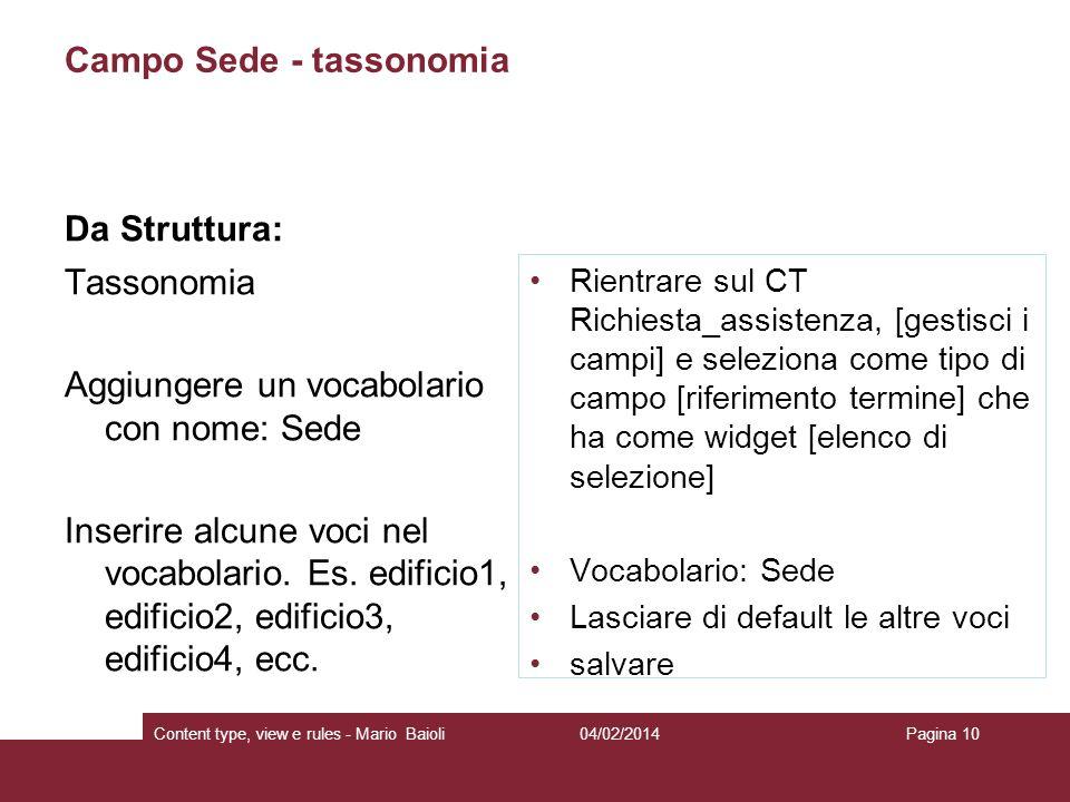 Campo Sede - tassonomia