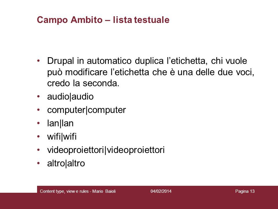 Campo Ambito – lista testuale