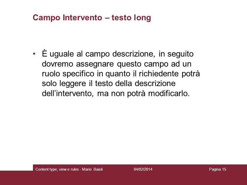 Campo Intervento – testo long
