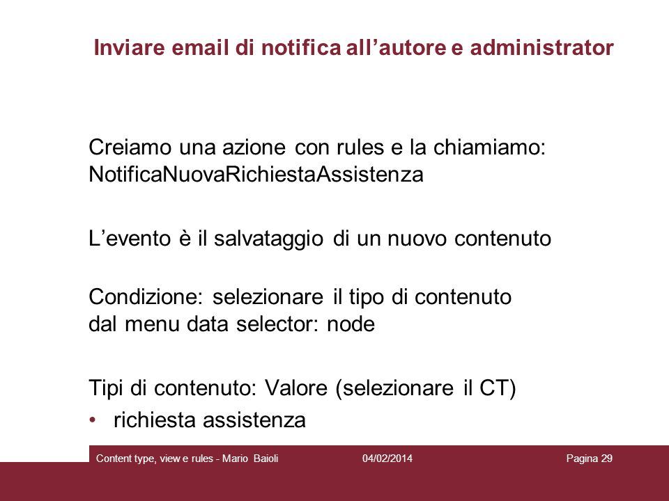 Inviare  di notifica all'autore e administrator