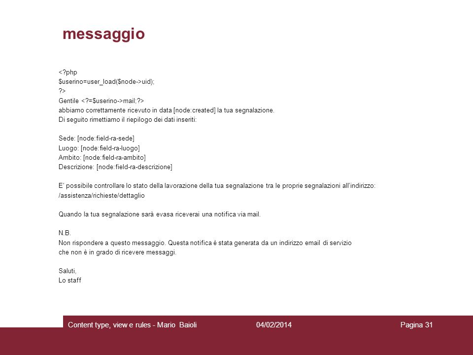 messaggio Content type, view e rules - Mario Baioli 27/03/2017