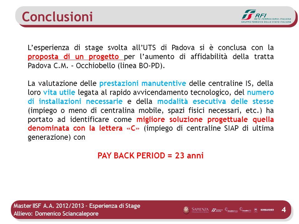 Conclusioni PAY BACK PERIOD = 23 anni