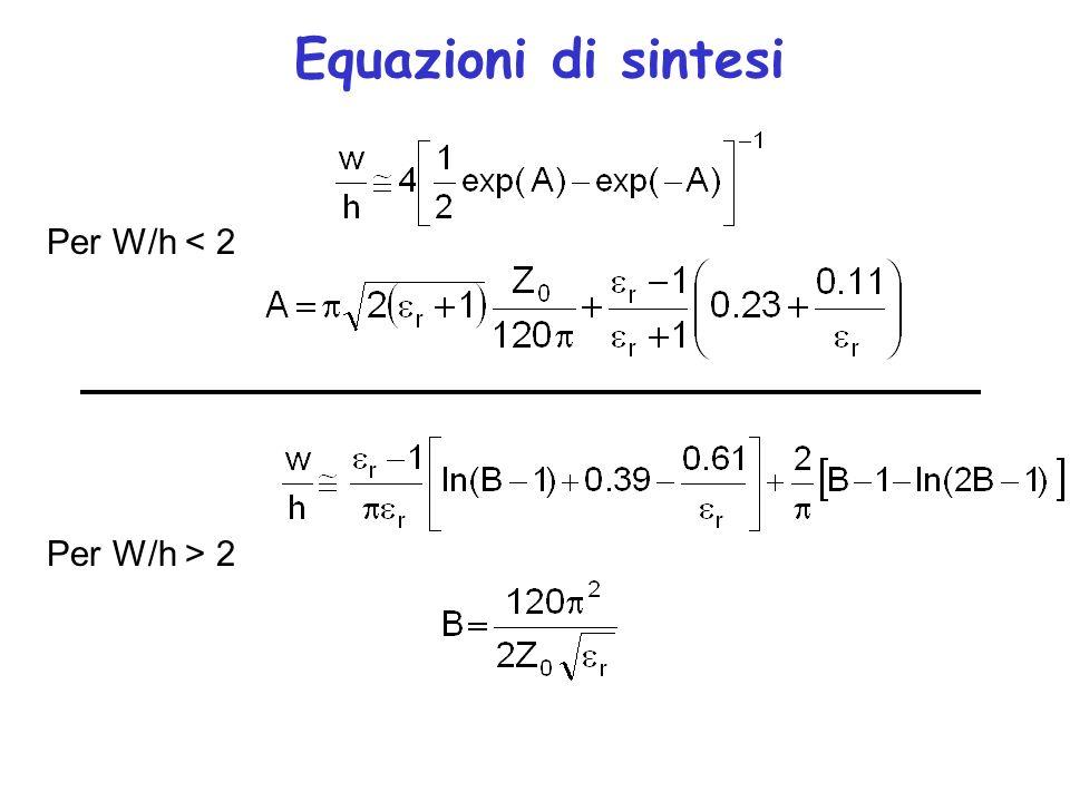 Equazioni di sintesi Per W/h < 2 Per W/h > 2