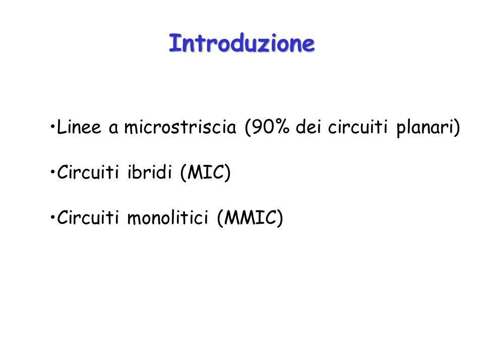 Introduzione Linee a microstriscia (90% dei circuiti planari)