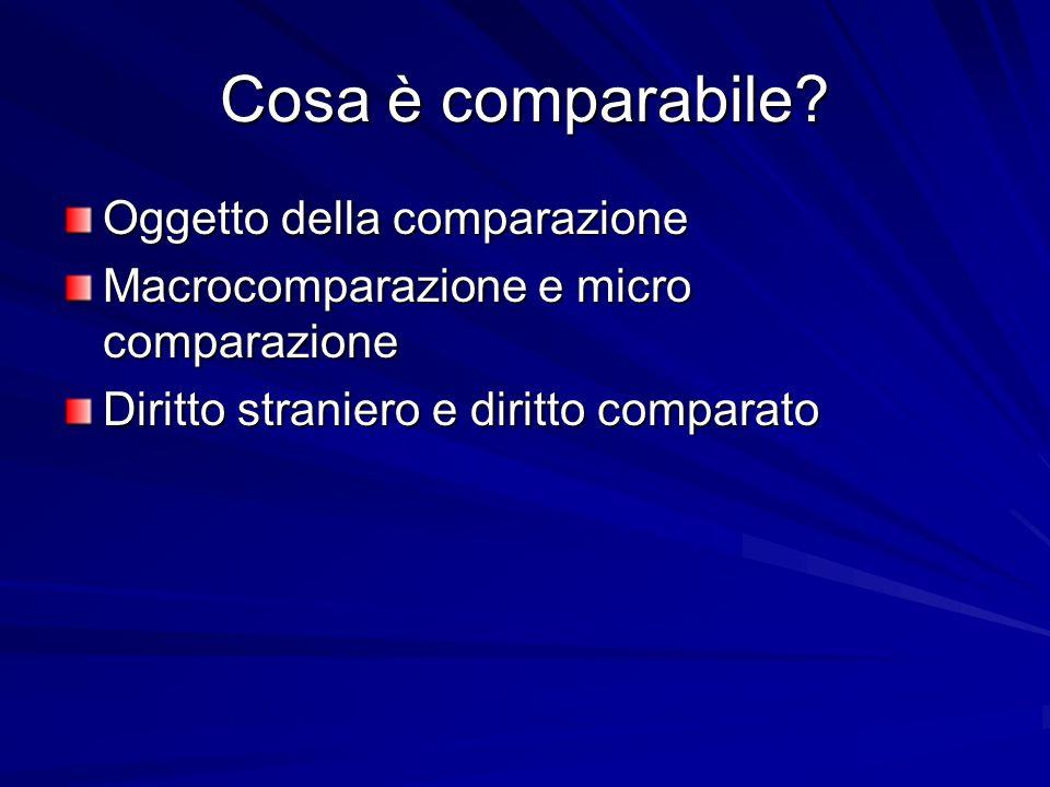 Cosa è comparabile Oggetto della comparazione
