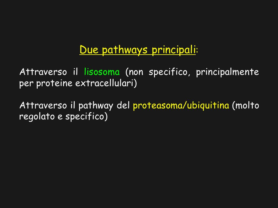 Due pathways principali:
