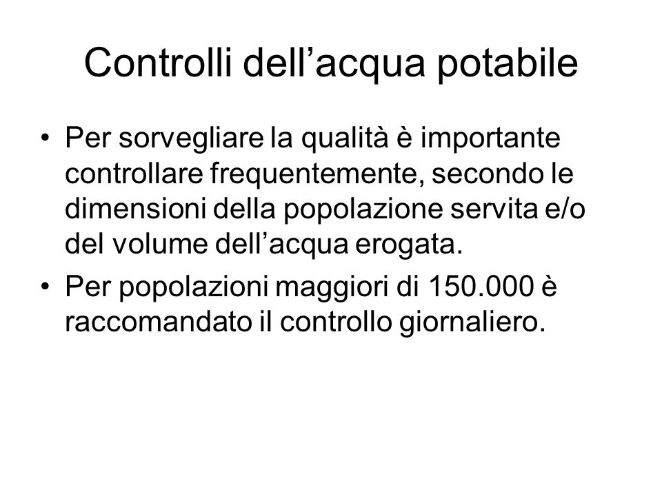 Controlli dell'acqua potabile