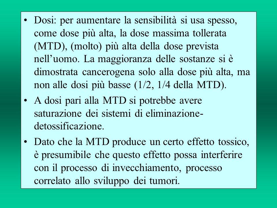Dosi: per aumentare la sensibilità si usa spesso, come dose più alta, la dose massima tollerata (MTD), (molto) più alta della dose prevista nell'uomo. La maggioranza delle sostanze si è dimostrata cancerogena solo alla dose più alta, ma non alle dosi più basse (1/2, 1/4 della MTD).