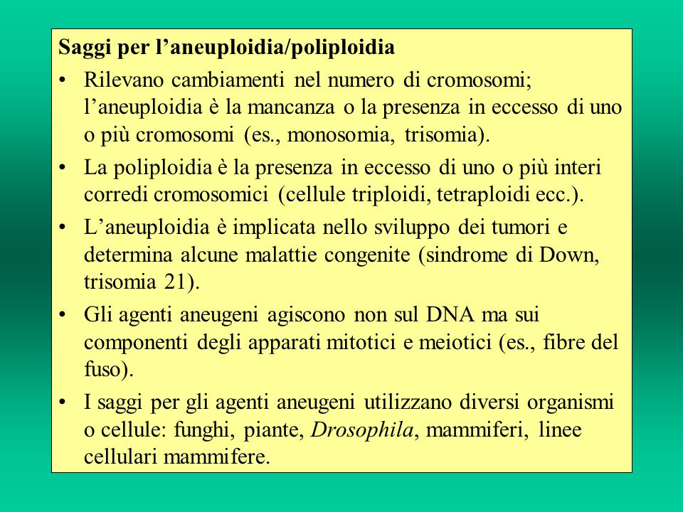 Saggi per l'aneuploidia/poliploidia