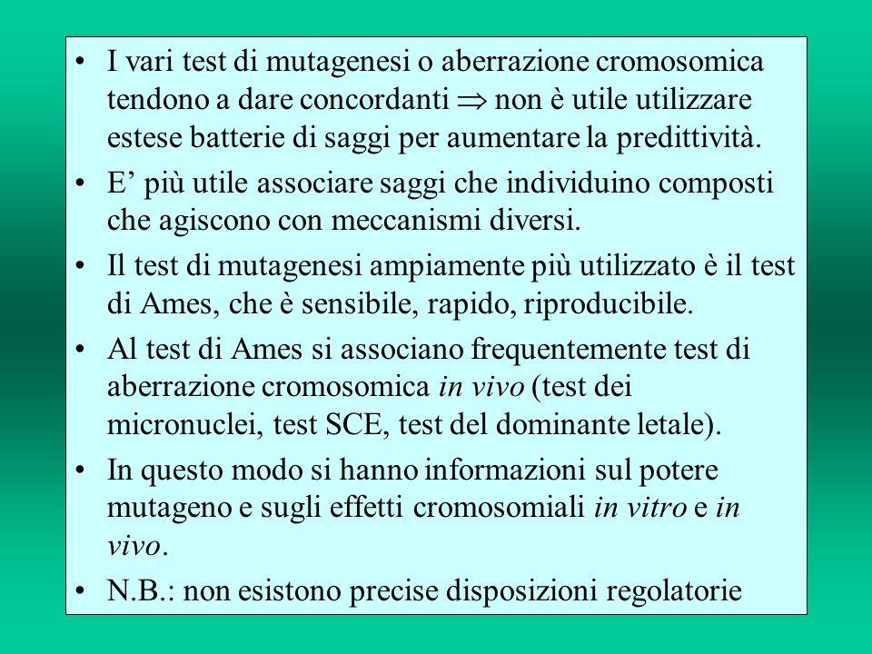 I vari test di mutagenesi o aberrazione cromosomica tendono a dare concordanti  non è utile utilizzare estese batterie di saggi per aumentare la predittività.