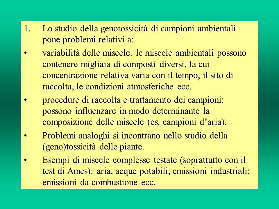 Lo studio della genotossicità di campioni ambientali pone problemi relativi a: