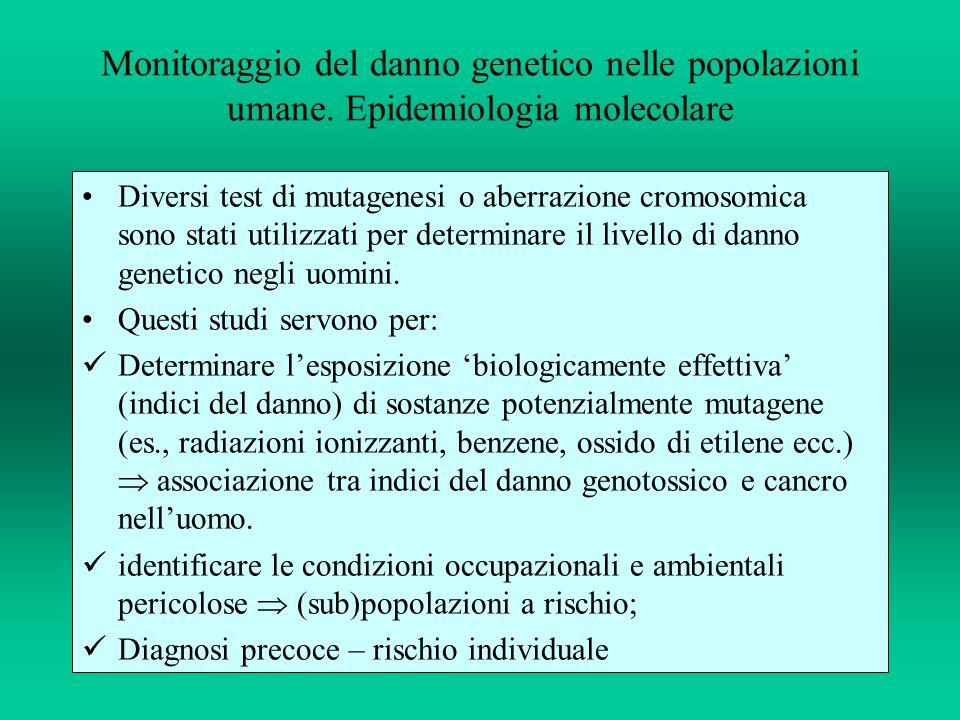 Monitoraggio del danno genetico nelle popolazioni umane