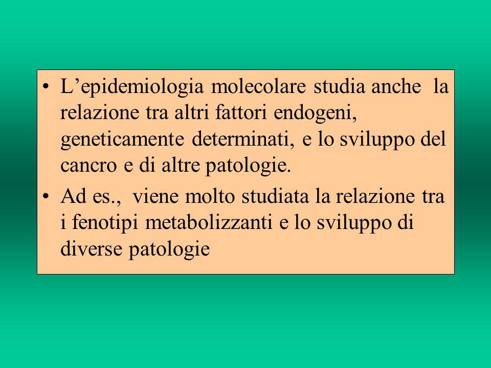 L'epidemiologia molecolare studia anche la relazione tra altri fattori endogeni, geneticamente determinati, e lo sviluppo del cancro e di altre patologie.