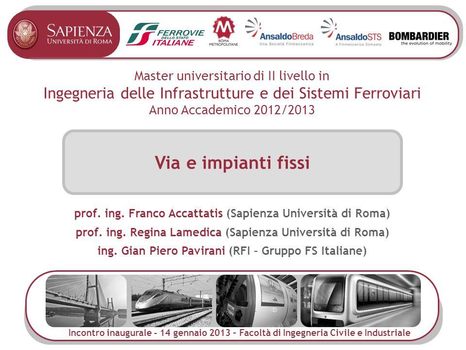 Master universitario di II livello in Ingegneria delle Infrastrutture e dei Sistemi Ferroviari Anno Accademico 2012/2013