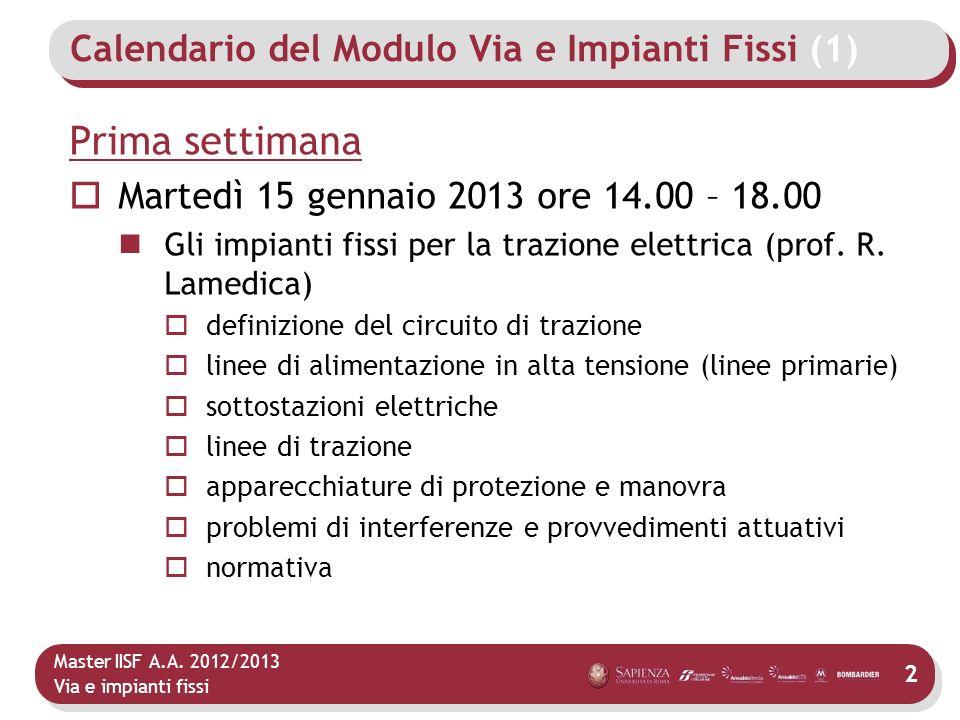 Calendario del Modulo Via e Impianti Fissi (1)