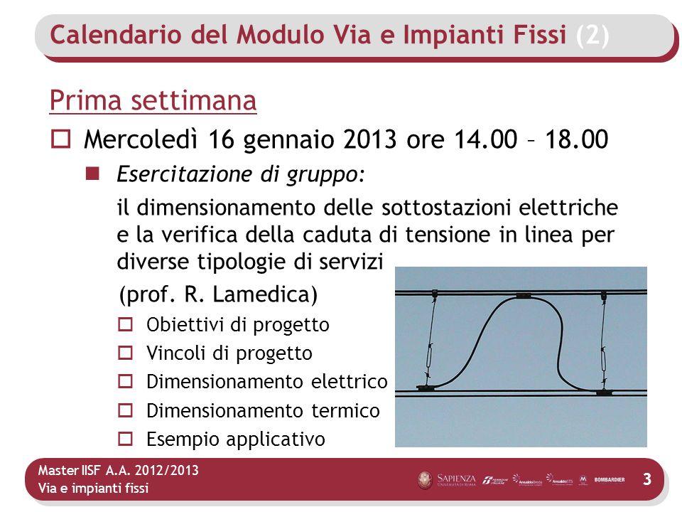 Calendario del Modulo Via e Impianti Fissi (2)