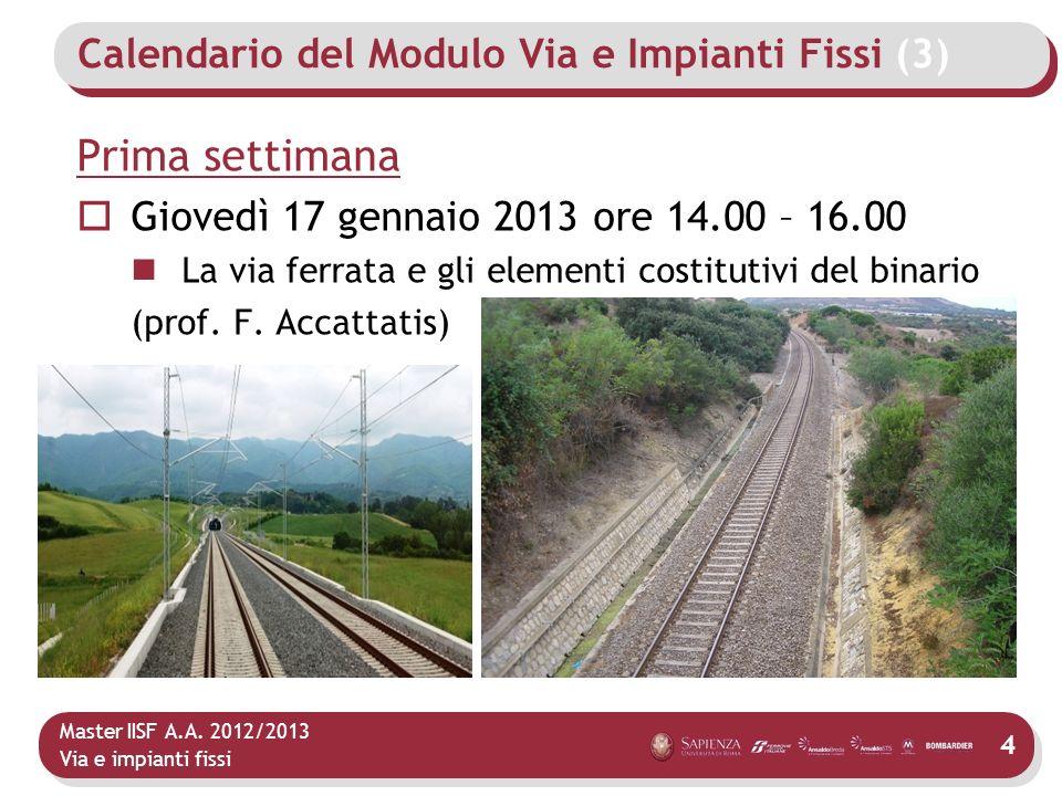 Calendario del Modulo Via e Impianti Fissi (3)