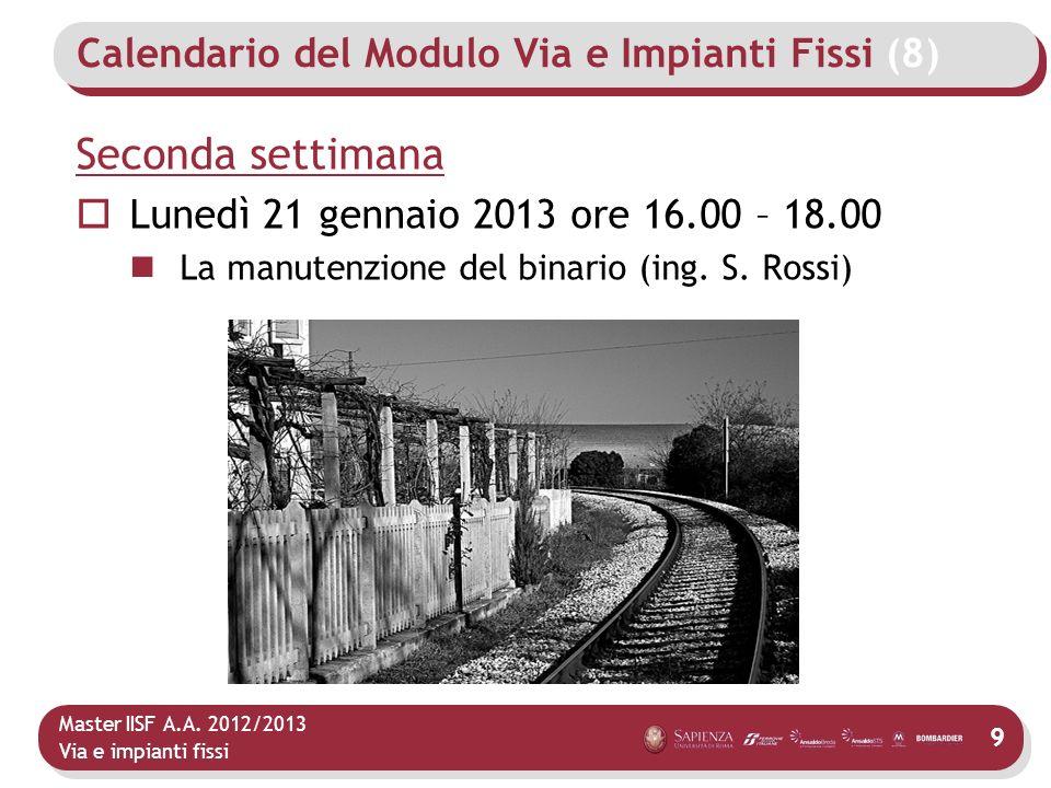 Calendario del Modulo Via e Impianti Fissi (8)