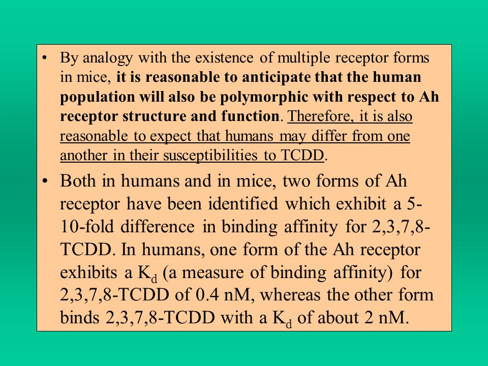 By analogy with the existence of multiple receptor forms in mice, it is reasonable to anticipate that the human population will also be polymorphic with respect to Ah receptor structure and function. Therefore, it is also reasonable to expect that humans may differ from one another in their susceptibilities to TCDD.