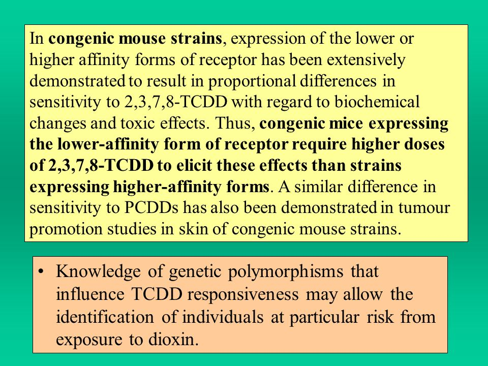 In congenic mouse strains, expression of the lower or higher affinity forms of receptor has been extensively demonstrated to result in proportional differences in sensitivity to 2,3,7,8-TCDD with regard to biochemical changes and toxic effects. Thus, congenic mice expressing the lower-affinity form of receptor require higher doses of 2,3,7,8-TCDD to elicit these effects than strains expressing higher-affinity forms. A similar difference in sensitivity to PCDDs has also been demonstrated in tumour promotion studies in skin of congenic mouse strains.