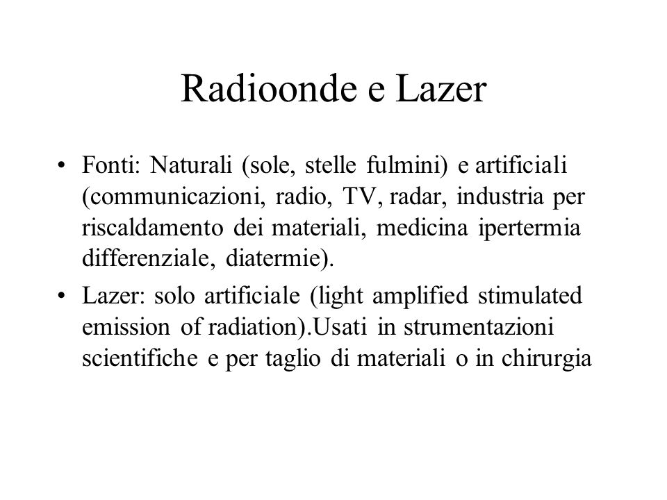 Radioonde e Lazer