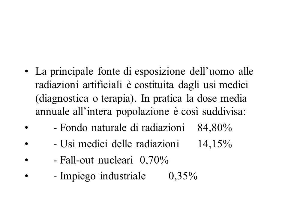 La principale fonte di esposizione dell'uomo alle radiazioni artificiali è costituita dagli usi medici (diagnostica o terapia). In pratica la dose media annuale all'intera popolazione è così suddivisa: