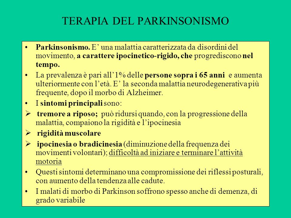 TERAPIA DEL PARKINSONISMO