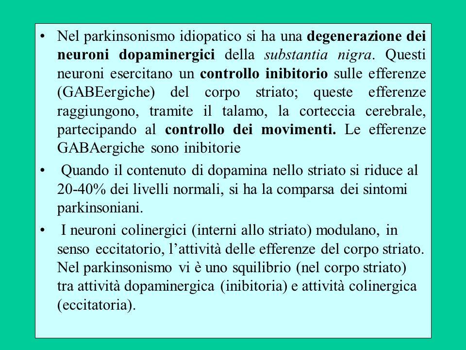 Nel parkinsonismo idiopatico si ha una degenerazione dei neuroni dopaminergici della substantia nigra. Questi neuroni esercitano un controllo inibitorio sulle efferenze (GABEergiche) del corpo striato; queste efferenze raggiungono, tramite il talamo, la corteccia cerebrale, partecipando al controllo dei movimenti. Le efferenze GABAergiche sono inibitorie