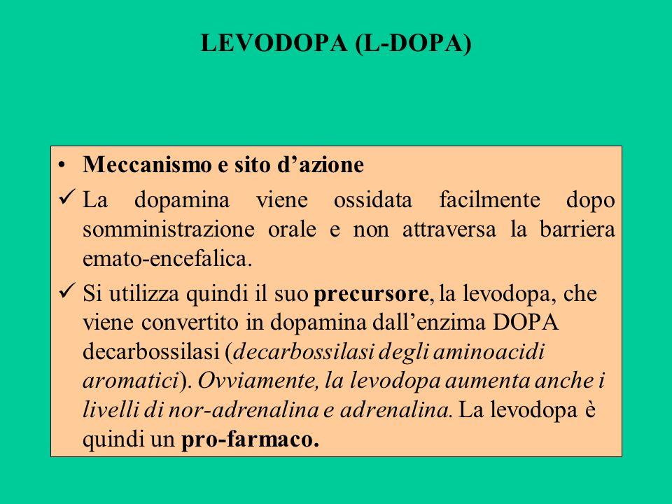LEVODOPA (L-DOPA) Meccanismo e sito d'azione