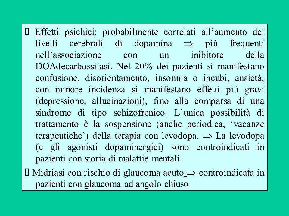 Ø Effetti psichici: probabilmente correlati all'aumento dei livelli cerebrali di dopamina  più frequenti nell'associazione con un inibitore della DOAdecarbossilasi. Nel 20% dei pazienti si manifestano confusione, disorientamento, insonnia o incubi, ansietà; con minore incidenza si manifestano effetti più gravi (depressione, allucinazioni), fino alla comparsa di una sindrome di tipo schizofrenico. L'unica possibilità di trattamento è la sospensione (anche periodica, 'vacanze terapeutiche') della terapia con levodopa.  La levodopa (e gli agonisti dopaminergici) sono controindicati in pazienti con storia di malattie mentali.