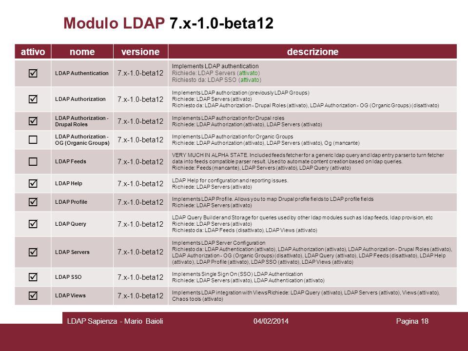 Modulo LDAP 7.x-1.0-beta12   attivo nome versione descrizione