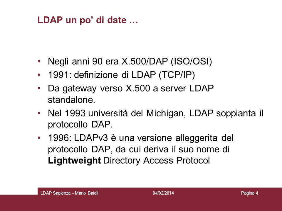 Negli anni 90 era X.500/DAP (ISO/OSI)