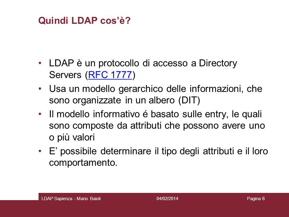 LDAP è un protocollo di accesso a Directory Servers (RFC 1777)