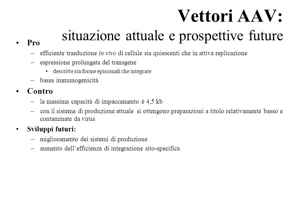 Vettori AAV: situazione attuale e prospettive future