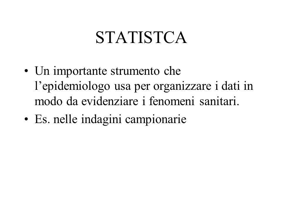 STATISTCA Un importante strumento che l'epidemiologo usa per organizzare i dati in modo da evidenziare i fenomeni sanitari.