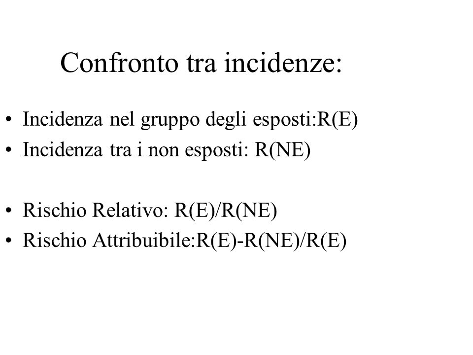 Confronto tra incidenze: