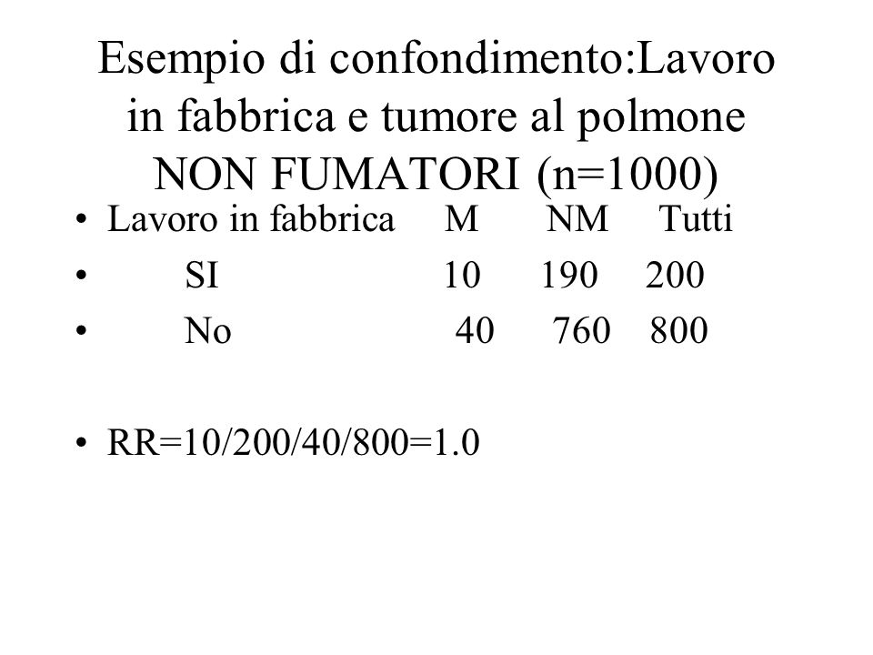 Esempio di confondimento:Lavoro in fabbrica e tumore al polmone NON FUMATORI (n=1000)