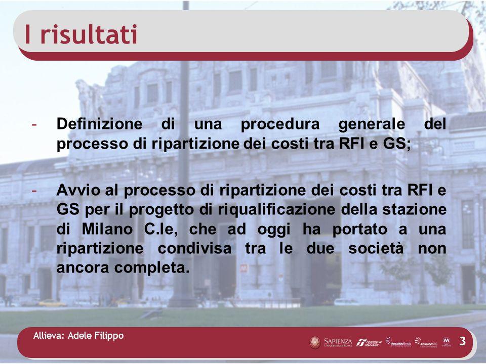I risultati Definizione di una procedura generale del processo di ripartizione dei costi tra RFI e GS;