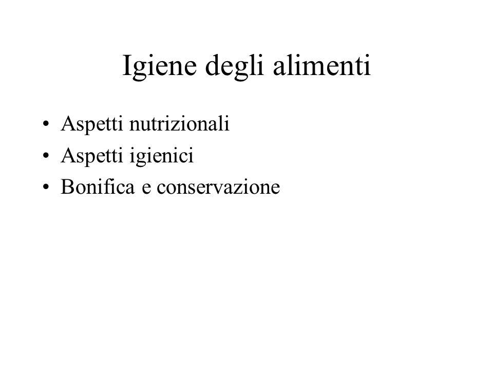 Igiene degli alimenti Aspetti nutrizionali Aspetti igienici
