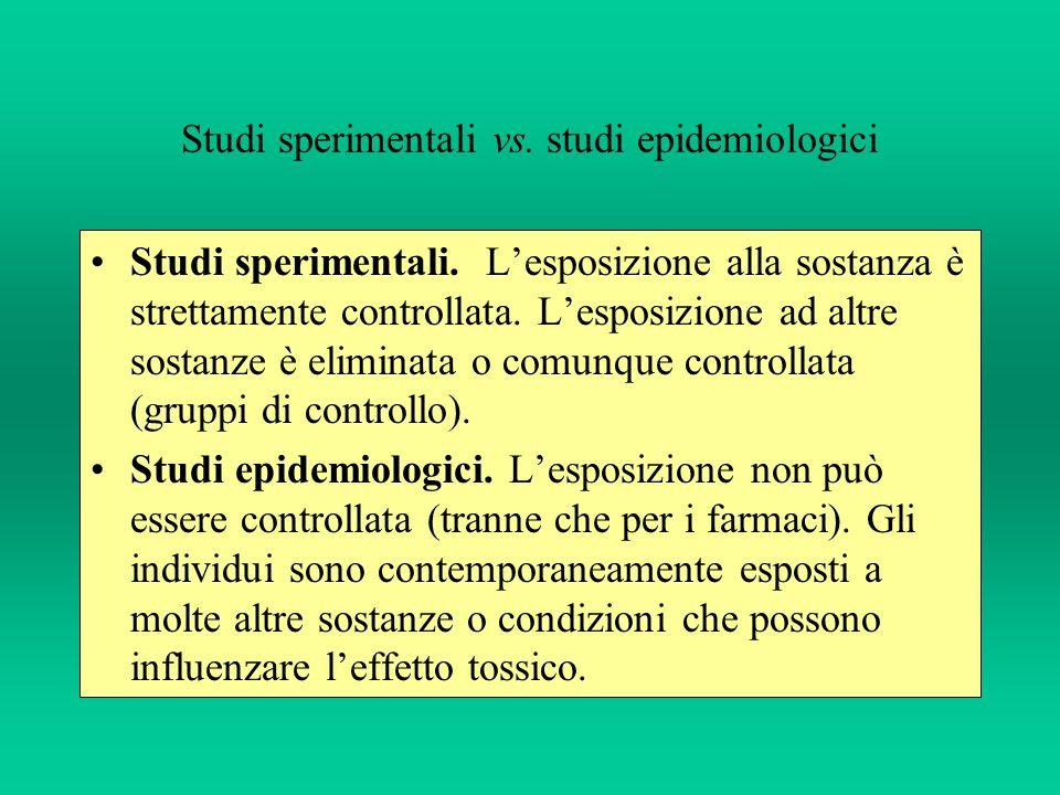 Studi sperimentali vs. studi epidemiologici