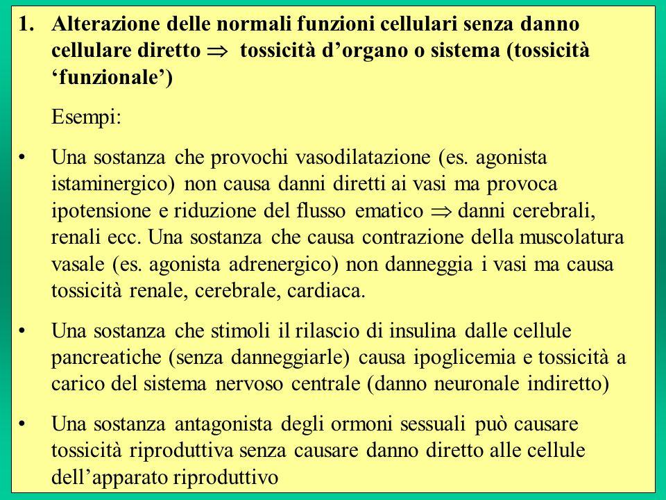 Alterazione delle normali funzioni cellulari senza danno cellulare diretto  tossicità d'organo o sistema (tossicità 'funzionale')