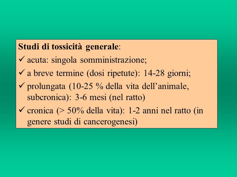 Studi di tossicità generale: