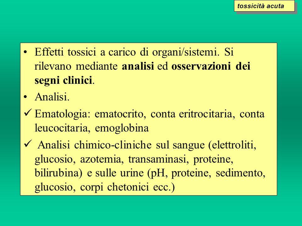 tossicità acuta Effetti tossici a carico di organi/sistemi. Si rilevano mediante analisi ed osservazioni dei segni clinici.