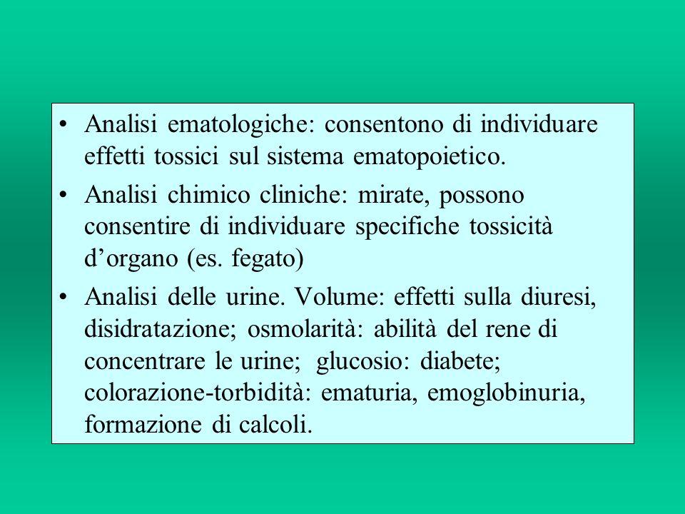 Analisi ematologiche: consentono di individuare effetti tossici sul sistema ematopoietico.